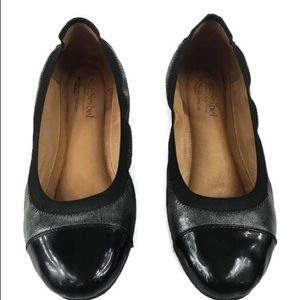 Josef Seibel Pippa Silver and Black Ballet Flats